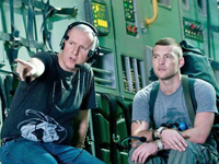 (from left) James Cameron and Sam Worthington on the set of Avatar