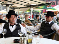 (from left) Adrian Brody and Mark Ruffalo in The Brothers Bloom