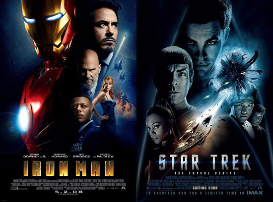 (from left) Iron Man poster and Star Trek poster