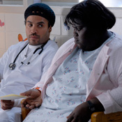 (from left) Lenny Kravitz and Gabourey Sibide in Precious