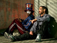 (from left) Jamie Foxx and Robert Downey Jr. in The Soloist