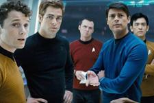 (from left) Anton Yelchin, Chris Pine, Simon Pegg, Karl Urban and John Cho in Star Trek