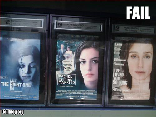 (from left) posters for Let the Right One In, Rachel Getting Married and I've Loved You So Long