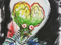 Preliminary watercolor for Mars Attacks!, by Tim Burton