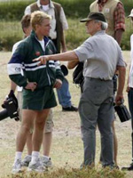 (from left) Matt Damon and Clint Eastwood on the set of Invictus