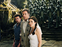 (from left) Danny McBride, Will Ferrell and Anna Friel in Land of the Lost