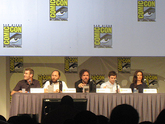 (from left) Shane Acker, Timur Bekmambetoc, Tim Burton, Elijah Wood and Jennifer Connelly at the 2009 San Diego Comic-Con International