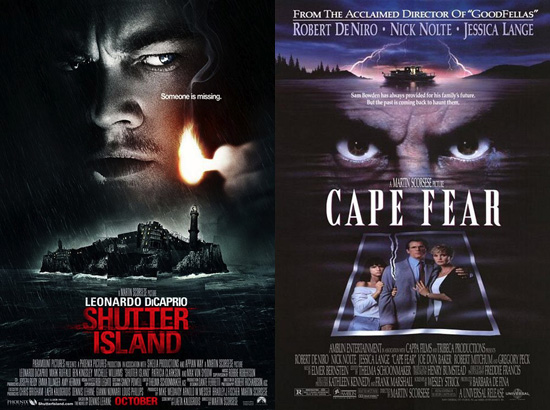 (from left) Posters for Shutter Island and Cape Fear