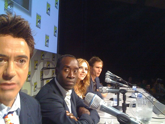(from left) Robert Downey Jr., Don Cheadle, Scarlett Johansson and Sam Rockwell at the 2009 San Diego Comic-Con International