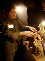 Wes Anderson on the set of Fantastic Mr. Fox