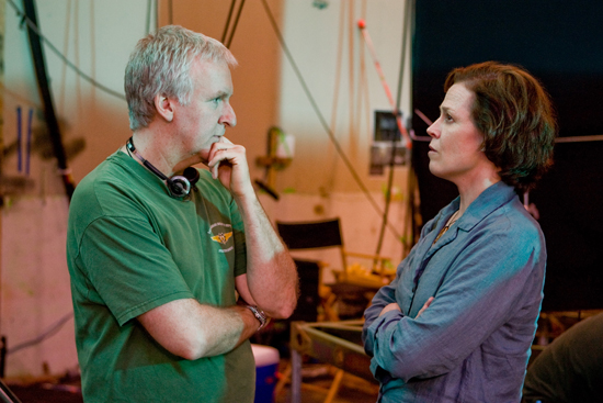 (from left) James Cameron and Sigourney Weaver on the set of Avatar