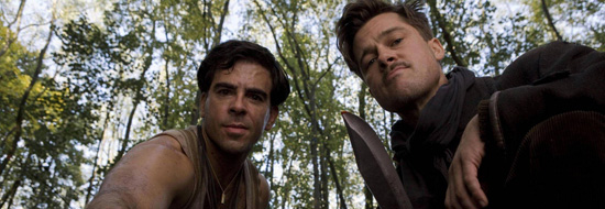 (from left) Eli Roth and Brad Pitt in Inglourious Basterds