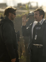 (from left) Neill Blomkamp and Sharlto Copley on the set of District 9