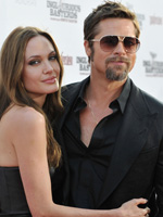(from left0 Angelina Jolie and Brad Pitt at the Los Angeles premiere of Inglourious basterds