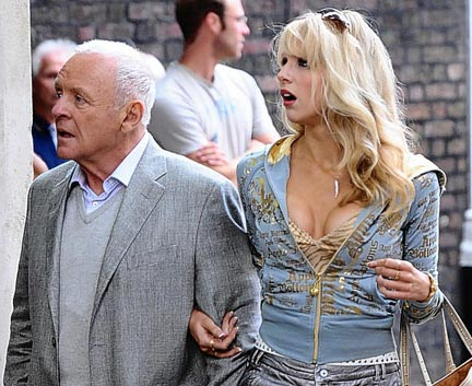 Anthony Hopkins and Lucy Punch on the set of Woody Allen's latest