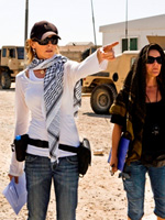 Kathryn Bigelow on the set of The Hurt Locker