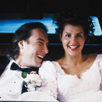 (from left) John Corbett and Nia Vardalos in My Big Fat Greek Wedding
