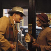(from left) Jeff Daniels and Mia Farrow in The Purple Rose of Cairo