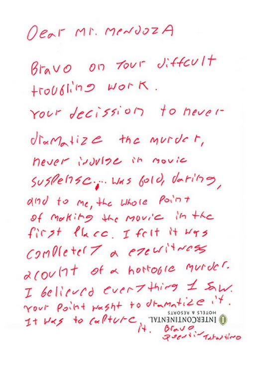 Letter from Quentin Tarantino to Brillante Mendoza