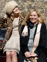 Rosamund Pike and Lone Scherfig on the set of An Education