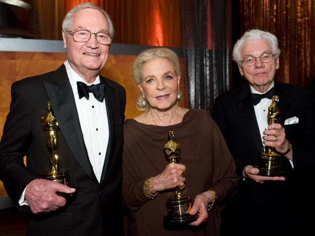(from left) Roger Corman, Lauren Bacall and Gordon Willis at the 2008 Governors' Awards