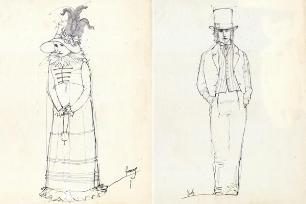 Janet Patterson's costume sketches for Bright Star
