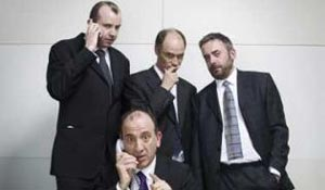 The writers of In the Loop (from left): Tony Roche, Armando Iannucci, Jesse Armstrong and Simon Blackwell