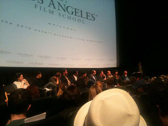(from left_ Jason Reitman, Sheldon Turner, Pete Docter, Bob Peterson, Geoffrey Fletcher, Alessandro Camon, Tony Roche, Simon Blackwell, Armando Iannucci, Terri Tatchell and Nick Hornby at the Los Angeles Film School in Hollywood