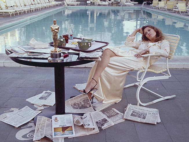 Faye Dunaway, the morning after her Oscar win, 1977